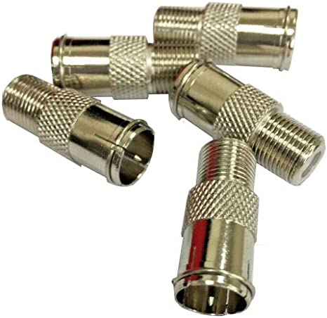 F Connector Push-On Adapter Quick Connect 10 Pack Plug Female to Male Adapter