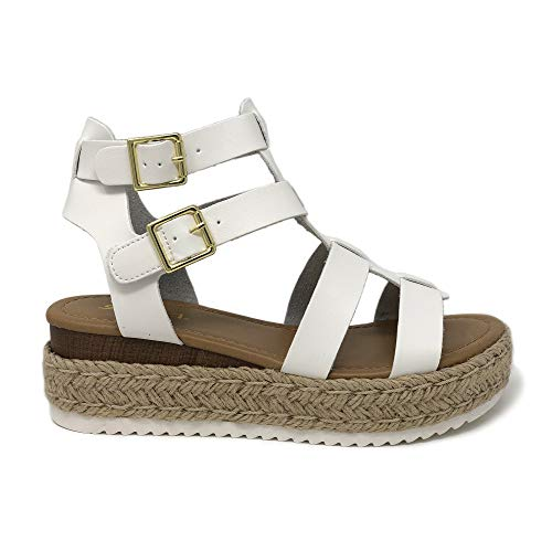 - SODA Topshoe Avenue Embassy Open Toe Ankle Gold Strap Espadrille Sandal Platform (5.5 M US, White PU)
