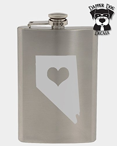 Nevada Pride I Heart My State Art Personalized Custom Hand Etched Stainless Steel 8 oz Flask Great -