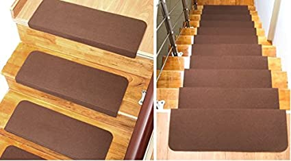 Home Cal 13 Non Slip Stair Treads, Easy Tape Installation U0026 Rubber Backing  (Coffee
