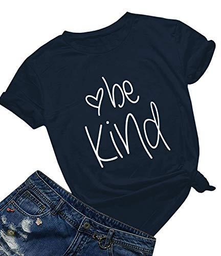 Be Kind T Shirts Women Cute Graphic Blessed Shirt Funny Inspirational Teacher Fall Tees Tops (Navy Crew, L)