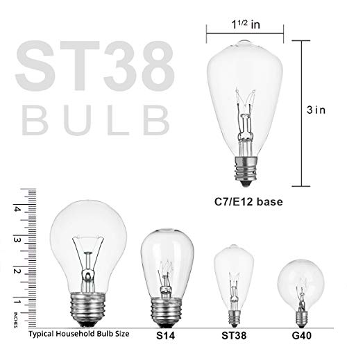 Pack of 10 Clear Replacement ST38 Antique Light Bulbs for Lights String,Commercial Grade E12 C7 Candelabra Base Bulb,7W Incandescent Filament Glass Bulb for Outdoor Patio Decorative ST38 String Lights