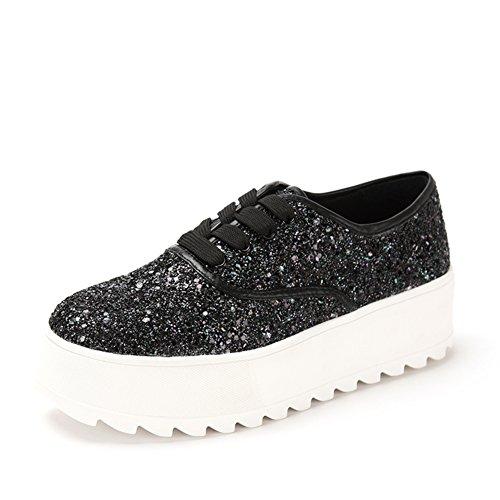 Zapatillas casuales de primavera/Brillo, zapatos de plataforma con suela gruesa/Con zapatos planos profundos Negro