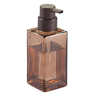 InterDesign Casilla Glass Foaming Modern Soap Dispenser Pump for Kitchen and Bathroom Vanities, Sand/Bronze