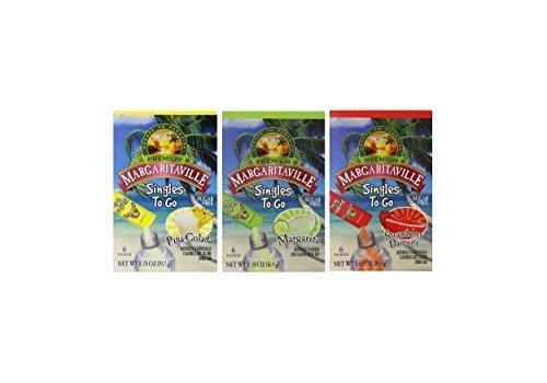 Margaritaville Singles to Go Drink Mix Variety 3 Pack, Strawberry Daiquiri, Pina Colada, Margarita
