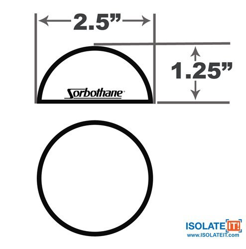 2.5'' Dia Sorbothane Hemisphere Rubber Bumper Non-Skid Feet with Adhesive (4, 30 Duro) by Isolate It! (Image #3)