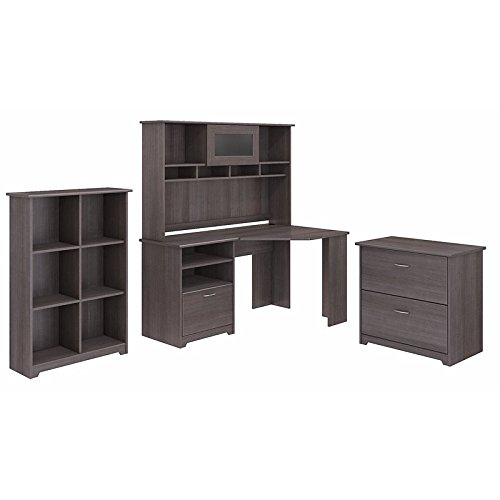 Cabot Corner Desk with Hutch, Lateral File Cabinet and 6 Cube ()