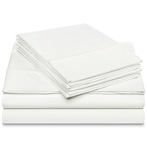 Dream Castle Linens 600 Thread Count 100% Long Staple Soft Cotton Sheet Set with BONUS Pillowcases, 6 Piece Set,QUEEN SHEETS,Smooth Sateen Weave,16