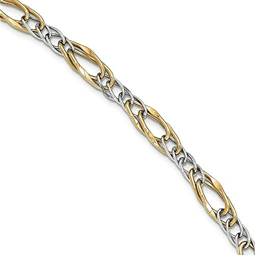 14 carats Bicolore Bracelet lien-Fantaisie-JewelryWeb poli 7,5 cm