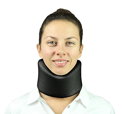 Vive Neck Brace By Cervical Collar   Adjustable Soft Support Collar Can Be Used During Sleep   Wraps Aligns   Stabilizes Vertebrae   Relieves Pain   Pressure In Spine  4 Inch  Black