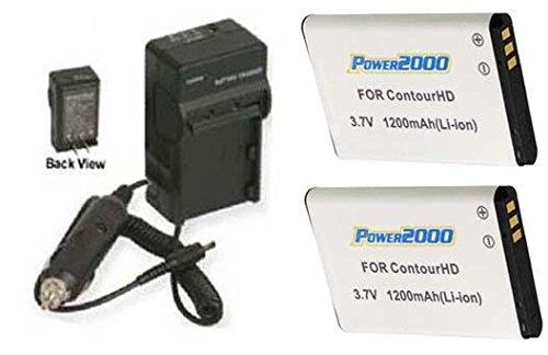2 Batteries + Charger for ContourHD Contour+ Contour+2 Plus HD Helmet Camera ()
