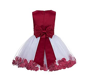 Amazon.com: Wedding Pageant Rose Petals Flower Girl Dress ...