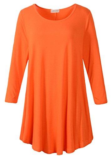 LARACE Women 3/4 Sleeve Tunic Top Loose Fit Flare T-Shirt(L, - Shirt Tunic Orange