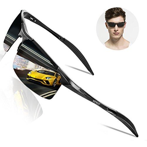 MEWAY Men's Fashion Driving Polarized Sunglasses UV400 Protection for Men Al-Mg Metal Frame Ultra Light(Black-grey) by MEWAY