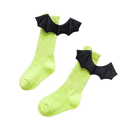 bjduck99 Kids Children Girls Winter Autumn Creative 3D Demon Wings Soft Long Knee High Socks - Fluorescent Yellow 4-6Y ()