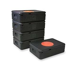 The Box * 5* del paquete Thermo caja gn 1/1pequeño 79880; negro, medida exterior de 60x 40x 18,5cm, tamaño interior 54x 34x 12cm, altura útil 12cm, 21L.