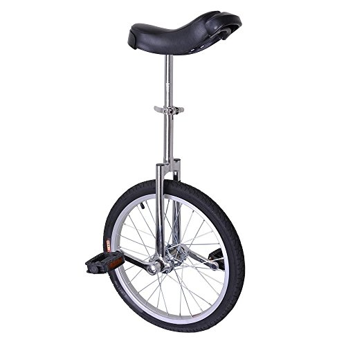 20'' Wheel Silver & Black Mountain Tire Adjustable Height Unicycle Balance Exercise by FDInspiration