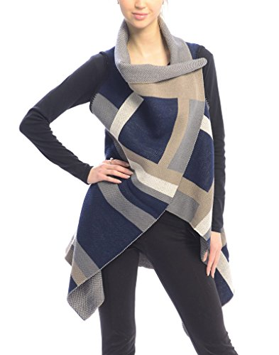 Outcrews Women's Color Blocked Crossover Vest, Sweater W/Buttons, Fall/Winter Poncho, One Size (Navy)