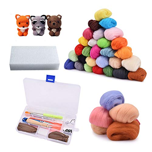 Needle Felting Kit, Wool Roving 36 Colors Set, Starter Tool Kit for Hand Spinning DIY, Fibre Yarn Craft Supplies Included Wool Felt Tools, Foam Mat, and Instruction for Starters, Ideal Gift for Kids