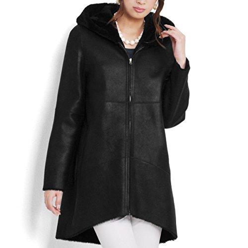 ムートンWフェイスフード付コートレディースcoatアウターウェア毛皮リアルムートンリアルファーMサイズブラック黒
