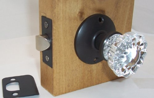Fluted Crystal Glass Passage OIL Rubbed Bronze Door Knob Sets