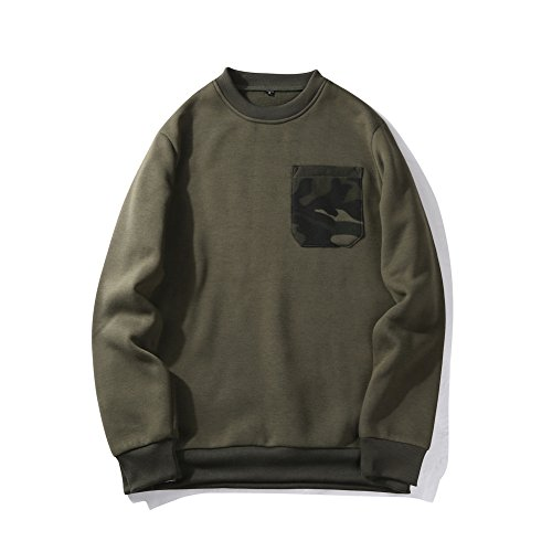 Men's Solid Crew Neck Fleece Sweatshirt Pullover Tops with Pocket S Army Green