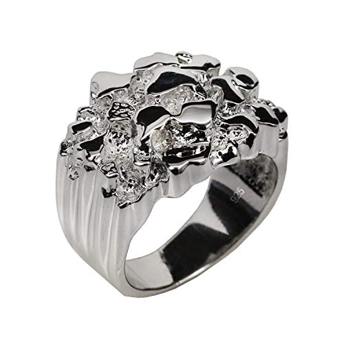 Harlembling Solid 925 Sterling Silver Men's Silver Ring - Nugget Ring - Pinky or Ring Finger - Sizes 7-13 (7)