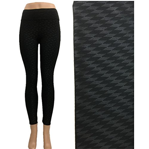 Women's Black Embossed Print Patterned Yoga Pants Leggings Large (Wear Black Tights)