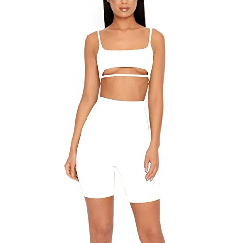 LUFENG Women's Suit Two Pieces Set Sexy Sleeveless Strapless Crop Top and Shorts Set White M