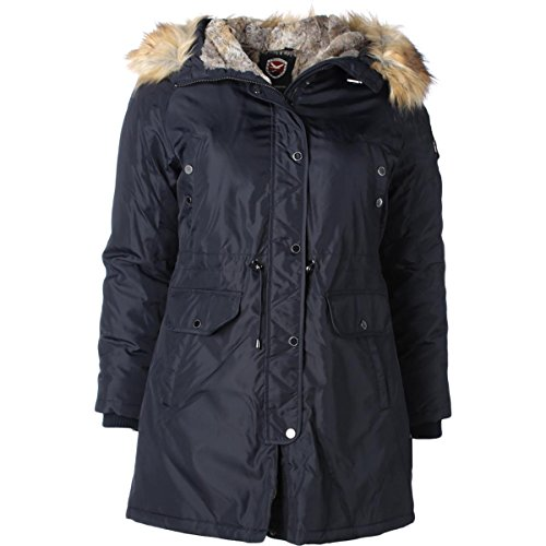 1 Madison Expedition Womens Faux Fur Lined Hooded Coat Navy XL by 1 Madison Expedition (Image #2)