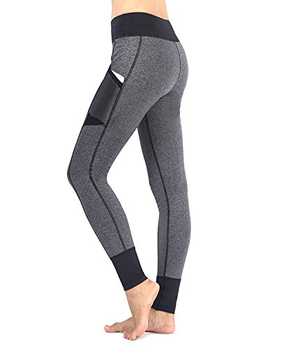 EAST HONG Women's Workout Yoga Pants Leggings Fitness Athletic Pants (L, Grey/Black)