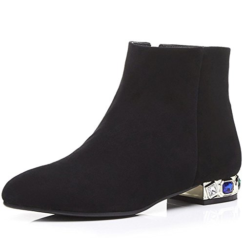 Nine Seven Suede Leather Womens Pointed Toe Chunky Heel Handmade Fashion Ankle Boots With Crystals Black
