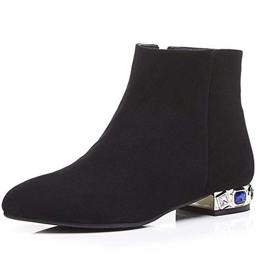 Nio Sju Mocka Läder Womens Pekade Tå Chunky Häl Handgjorda Mode Boots Med Kristaller Svart
