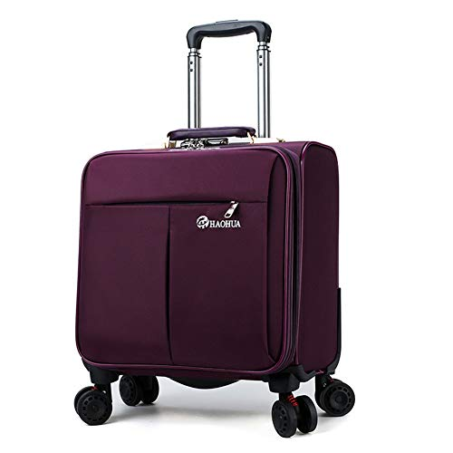 LDHY 16 Oxford Cloth Suitcase, Small Trolley case, 4 360° Rotating Wheels, Business Travel Suitcase Lock Box, Upright Hand Luggage, 393824CM, 5kg, 55L-purple-16inch-393824CM