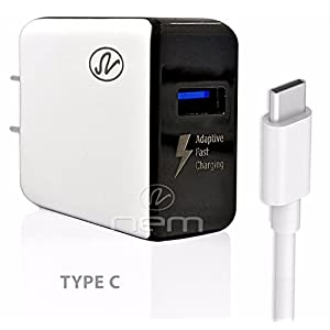AT&T ZTE Blade Spark Accessory Kit, 2 in 1 Rapid Charging 2.1 Amp Wall Charger Adapter + 3 Feet TYPE C 2.0 Fast USB Data Sync Cable WHITE