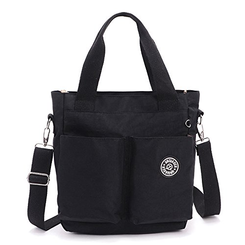 MOLLYGAN Women's Dual-Use Leisure Nylon Crossbody Bag Top-Handle Bag Black