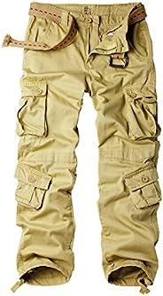 OCHENTA Men's Cotton Military Cargo Pants, 8 Pockets Casual Work Combat Trou