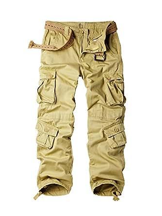 OCHENTA Men's Outdoor Wild Military 8 Pockets Cargo Pant #3357 Khaki 27