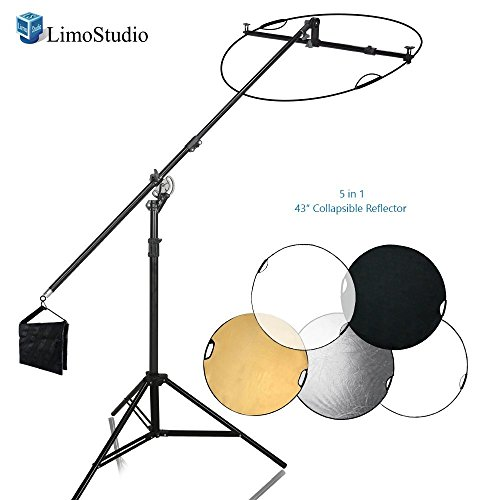 (LimoStudio Swivel Reflector Support Holder Arm, 2 Way Rotatable Boom Stand Arm Bar with 43 Inch Diameter 5 Color in 1 Round Collapsible Reflector Disc Panel Boom Stand Kit, Sand Weight Bag, AGG2084)