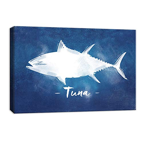 (NWT Canvas Wall Art Abstract Tuna Fish Painting Artwork for Home Decor Framed 16x24 inches)