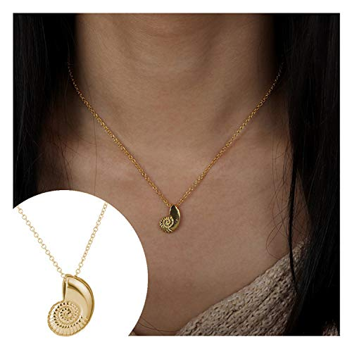 (Frodete Vivid Spiral Swirl Sea Snail Necklace Women Cute Travel Ariel Voice Pendant Ocean Beach Necklace (Gold))