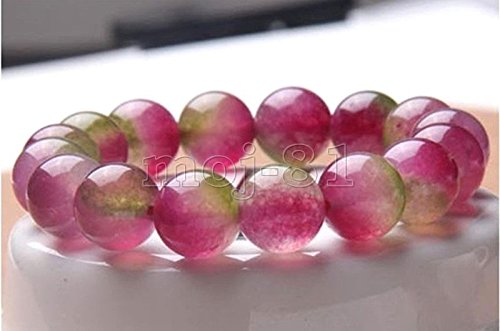 Handmade 12mm Natural Beautiful Green Pink Jadeite Jade Beads Bangle Bracelet
