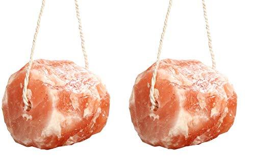SALT GEMS 2 Pack, Himalayan Animal Lick Salt - Natural Pure Pink Salt Block on a Rope for Horses, Deer, Goats, Cattle,Rabbits, 6.5~8 LBS