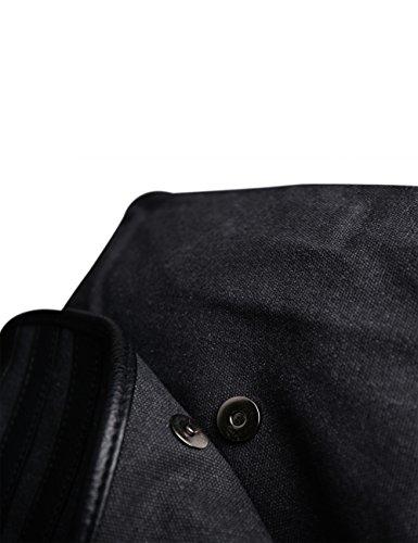 bolsos PU Lona y hombro Negro 206negro Hombre Bandolera Bolso E00206 al de Douguyan dUqFd