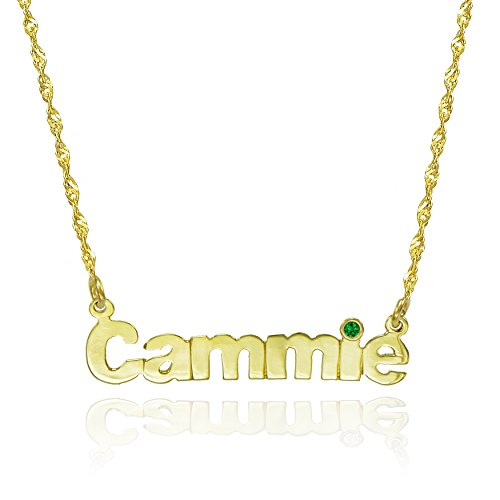 14K Yellow Gold Personalized Nameplate Necklace with CZ (18-inch, May) 14k Yellow Gold Nameplate