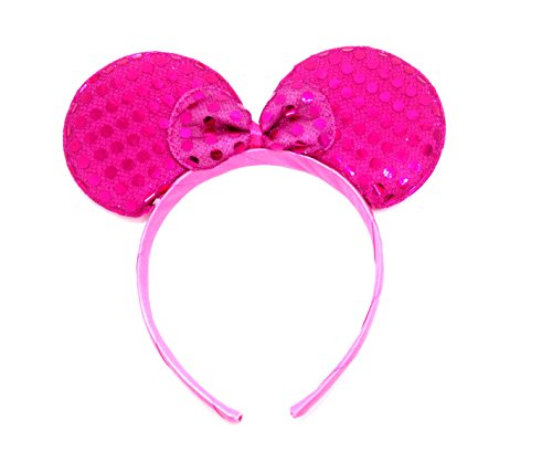 [MeeTHan Mickey Mouse Minnie Mouse Ears Headband Sequin : M1 (Sequin Pink2)] (German Sparkle Party Costume)