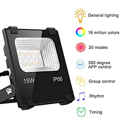 Yangcsl LED Flood Light Outdoor, 15W Smart Color Changing RGB Floodlight, Warm White - 16 Million Colors - Group Control - Timing, IP66 Waterproof, US 3-Plug, Bluetooth Connect & APP Control