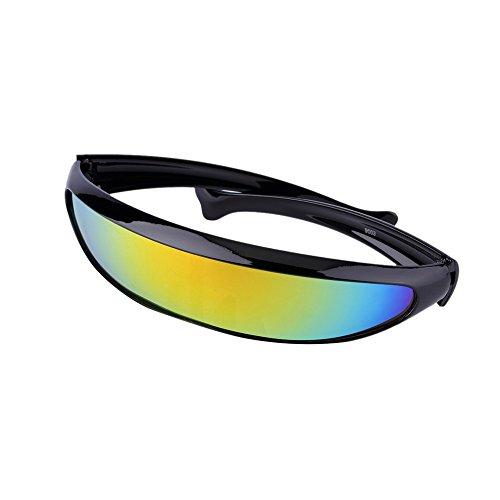 Futuristic Narrow Cyclops Novelty Party Shield Sunglasses Single Lens Shades (Rainbow, - Shades Futuristic