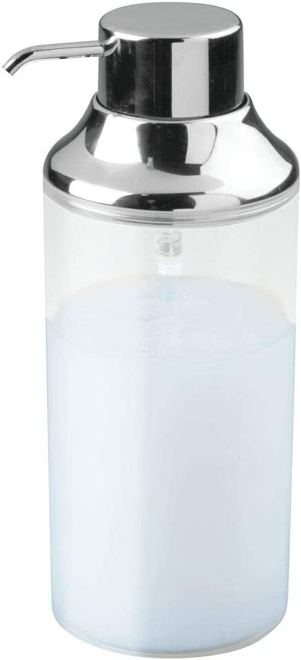 mDesign Dispensador de champu rellenable – Dosificador de jabon con capacidad de 1 l – Dispensador de jabon liquido para gel, acondicionador y champu – transparente/cromado