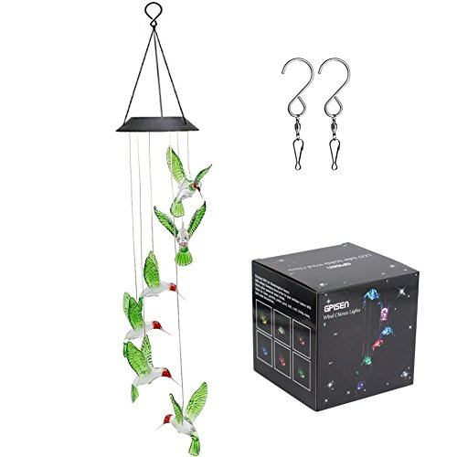 GPISEN Color-Changing LED Solar Mobile Wind Chime Outdoor Windlights Hummingbird Wind Chimes For Sale